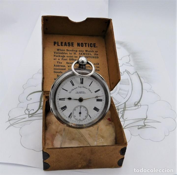 Relojes de bolsillo: H.SAMUEL- RELOJ DE BOLSILLO-DE PLATA-CAJA ORIGINAL-CIRCA 1895-FUSEE-FUNCIONANDO - Foto 7 - 159784602