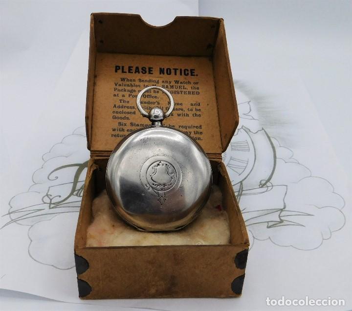 Relojes de bolsillo: H.SAMUEL- RELOJ DE BOLSILLO-DE PLATA-CAJA ORIGINAL-CIRCA 1895-FUSEE-FUNCIONANDO - Foto 8 - 159784602