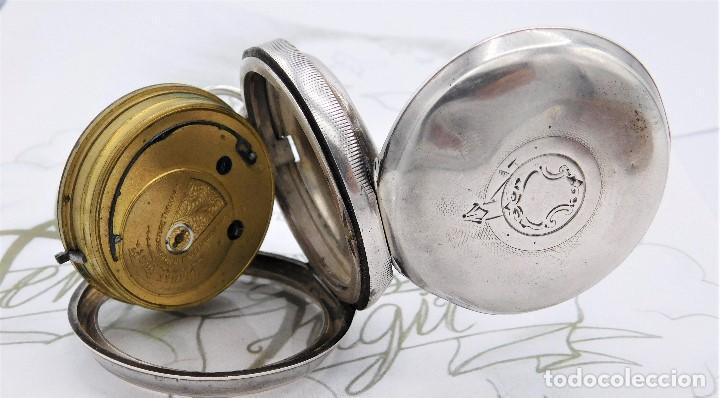 Relojes de bolsillo: H.SAMUEL- RELOJ DE BOLSILLO-DE PLATA-CAJA ORIGINAL-CIRCA 1895-FUSEE-FUNCIONANDO - Foto 11 - 159784602