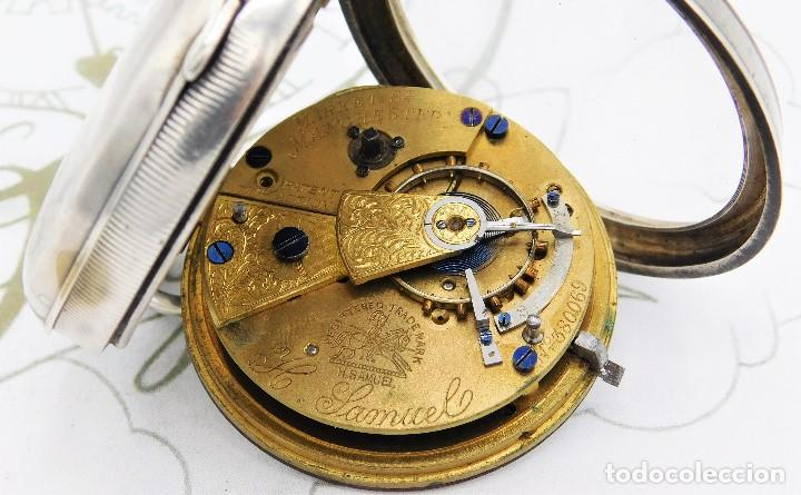 Relojes de bolsillo: H.SAMUEL- RELOJ DE BOLSILLO-DE PLATA-CAJA ORIGINAL-CIRCA 1895-FUSEE-FUNCIONANDO - Foto 14 - 159784602
