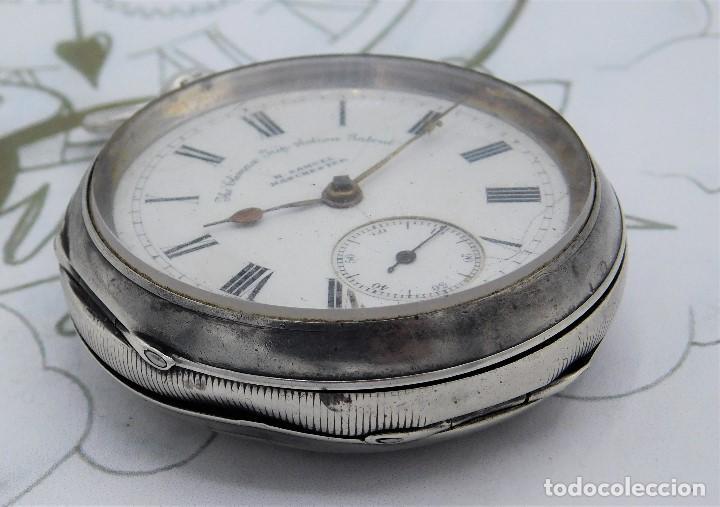 Relojes de bolsillo: H.SAMUEL- RELOJ DE BOLSILLO-DE PLATA-CAJA ORIGINAL-CIRCA 1895-FUSEE-FUNCIONANDO - Foto 16 - 159784602