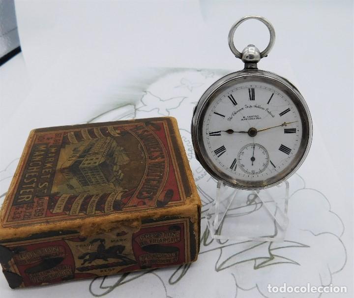 Relojes de bolsillo: H.SAMUEL- RELOJ DE BOLSILLO-DE PLATA-CAJA ORIGINAL-CIRCA 1895-FUSEE-FUNCIONANDO - Foto 19 - 159784602