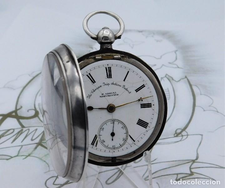 Relojes de bolsillo: H.SAMUEL- RELOJ DE BOLSILLO-DE PLATA-CAJA ORIGINAL-CIRCA 1895-FUSEE-FUNCIONANDO - Foto 20 - 159784602