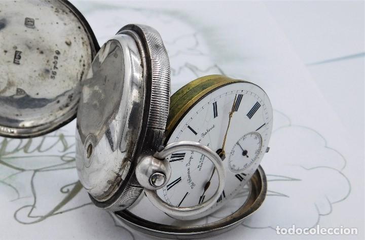 Relojes de bolsillo: H.SAMUEL- RELOJ DE BOLSILLO-DE PLATA-CAJA ORIGINAL-CIRCA 1895-FUSEE-FUNCIONANDO - Foto 21 - 159784602