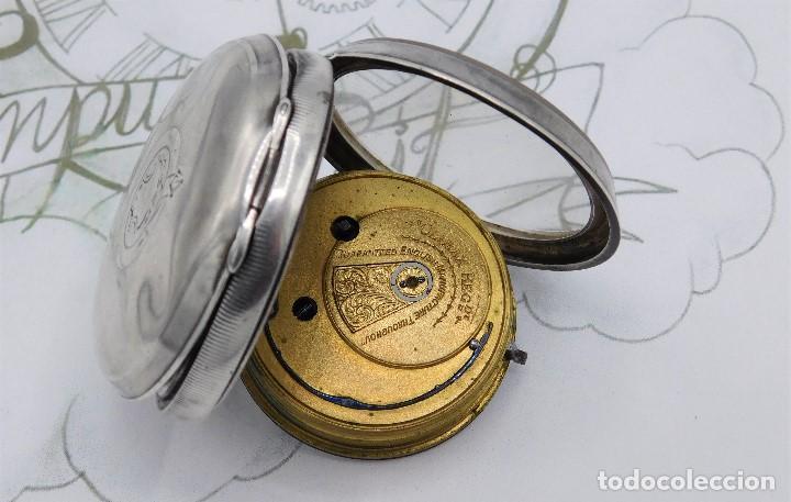 Relojes de bolsillo: H.SAMUEL- RELOJ DE BOLSILLO-DE PLATA-CAJA ORIGINAL-CIRCA 1895-FUSEE-FUNCIONANDO - Foto 24 - 159784602