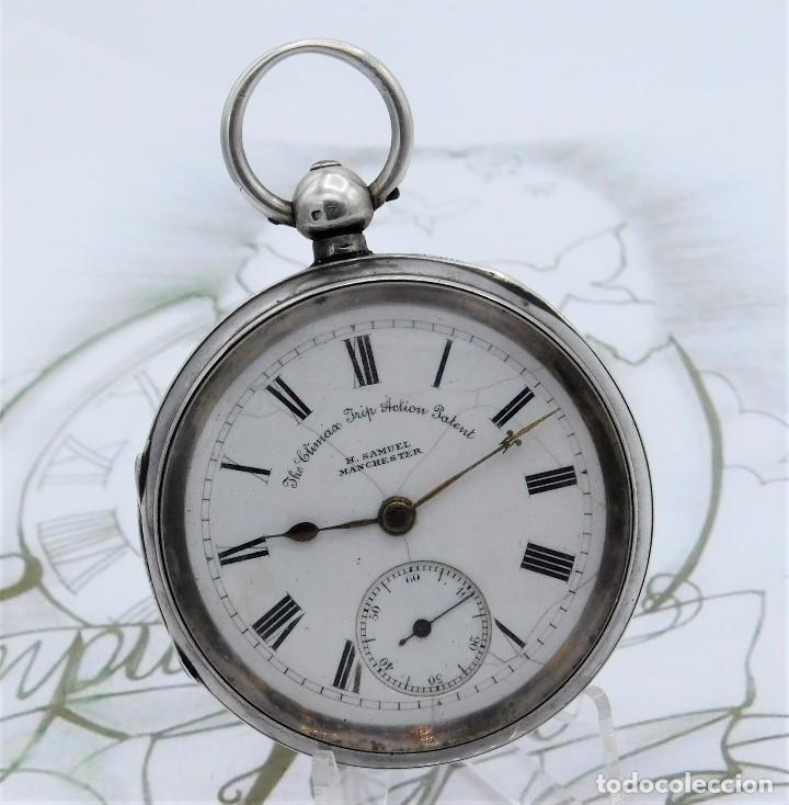Relojes de bolsillo: H.SAMUEL- RELOJ DE BOLSILLO-DE PLATA-CAJA ORIGINAL-CIRCA 1895-FUSEE-FUNCIONANDO - Foto 26 - 159784602