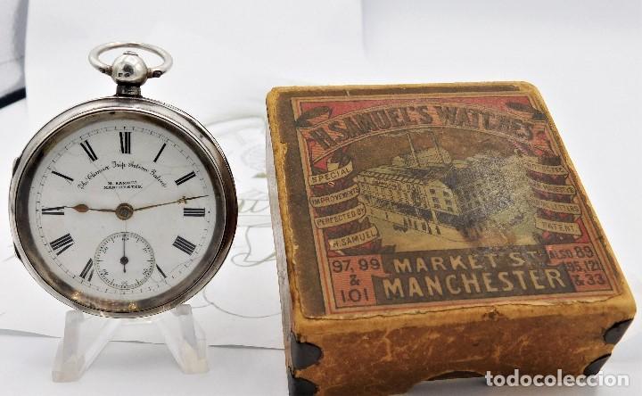 Relojes de bolsillo: H.SAMUEL- RELOJ DE BOLSILLO-DE PLATA-CAJA ORIGINAL-CIRCA 1895-FUSEE-FUNCIONANDO - Foto 10 - 159784602