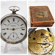 Relojes de bolsillo: H.SAMUEL- RELOJ DE BOLSILLO-DE PLATA-CAJA ORIGINAL-CIRCA 1895-FUSEE-FUNCIONANDO. Lote 159784602
