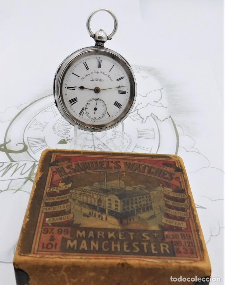 Relojes de bolsillo: H.SAMUEL- RELOJ DE BOLSILLO-DE PLATA-CAJA ORIGINAL-CIRCA 1895-FUSEE-FUNCIONANDO - Foto 2 - 159784602