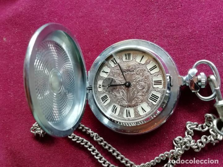 Relojes de bolsillo: Reloj de bolsillo ruso moderno. Máquina. Cadena. Perfecto estado - Foto 3 - 159794762