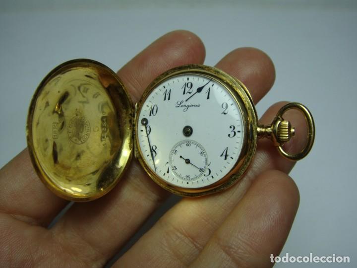 Relojes de bolsillo: Reloj de Bolsillo o Saboneta. C.1900 Oro macizo de 18 k. Marca LONGINES. 3 Tapas. - Foto 7 - 159966566