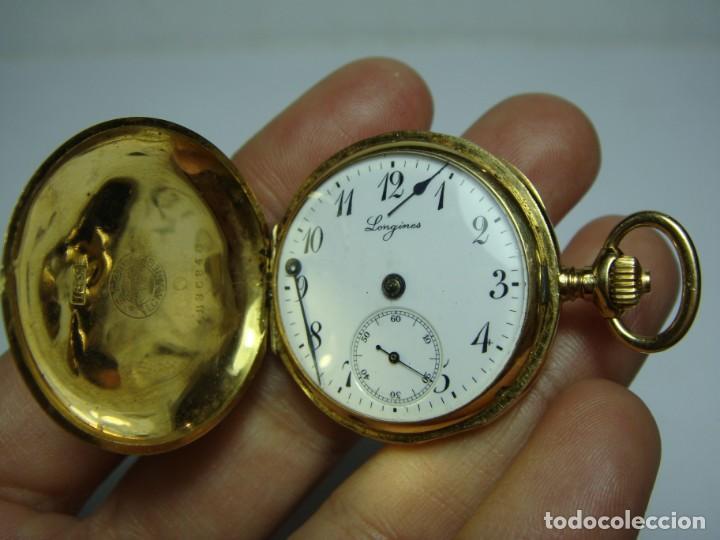 Relojes de bolsillo: Reloj de Bolsillo o Saboneta. C.1900 Oro macizo de 18 k. Marca LONGINES. 3 Tapas. - Foto 8 - 159966566