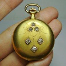 Relojes de bolsillo: RELOJ DE BOLSILLO O SABONETA. S.XIX. ORO MACIZO DE 18 K. MARCA MONTRES THERMOS. 3 TAPAS.. Lote 159966754