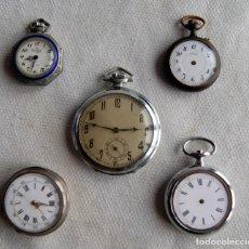 Relojes de bolsillo: LOTE DE 5 RELOJES DE BOLSILLO MECANICOS VEA FOTOS UNO PLATA F23. Lote 159971718