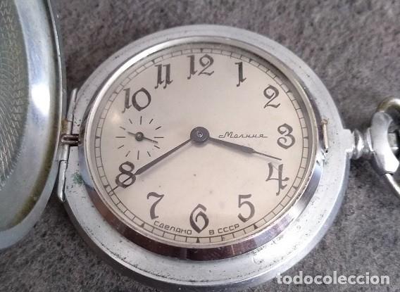 ANTIGUO RELOJ DE BOLSILLO DE LA MARCA MOLNIJA CON TAPA EN RELIEVE RUSIA AÑOS 60 18 RUBIES (Relojes - Bolsillo Carga Manual)