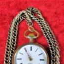 Relojes de bolsillo: RELOJ REMONTOIR 6 RUBIS. MARCA JB. PLATA 800/1000. METAL. CADENA DE PLATA. FRANCIA XIX-XX. Lote 160349974