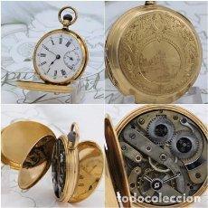 Relojes de bolsillo: A. HUGUENIN-ORO-3 TAPAS-ALTA COLECCIÓN-RELOJ DE BOLSILLO SABONETA-SIGLO XIX-FUNCIONANDO. Lote 160420438