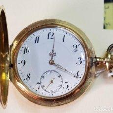 Relojes de bolsillo: RELOJ ORO 14 QUILATES, TRES TAPAS, PESO BRUTO 93 GRAMOS.. Lote 160621866