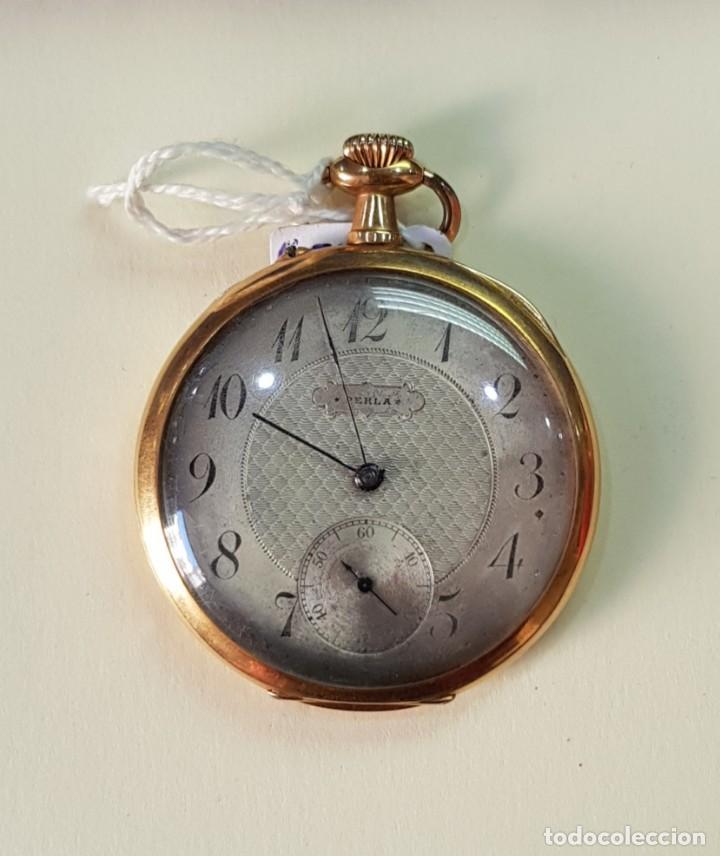 RELOJ ORO 18 QUILATES, TRES TAPAS. MARCA PERLA. (Relojes - Bolsillo Carga Manual)