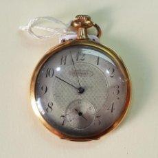Relojes de bolsillo: RELOJ ORO 18 QUILATES, TRES TAPAS. MARCA PERLA.. Lote 160623206