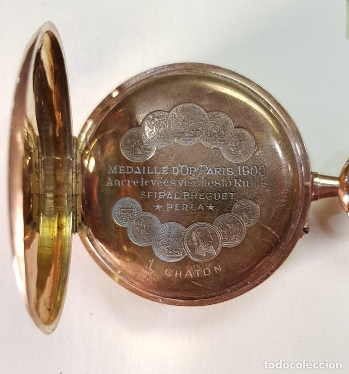 Relojes de bolsillo: Reloj oro 18 quilates, tres tapas. Marca Perla. - Foto 5 - 160623206