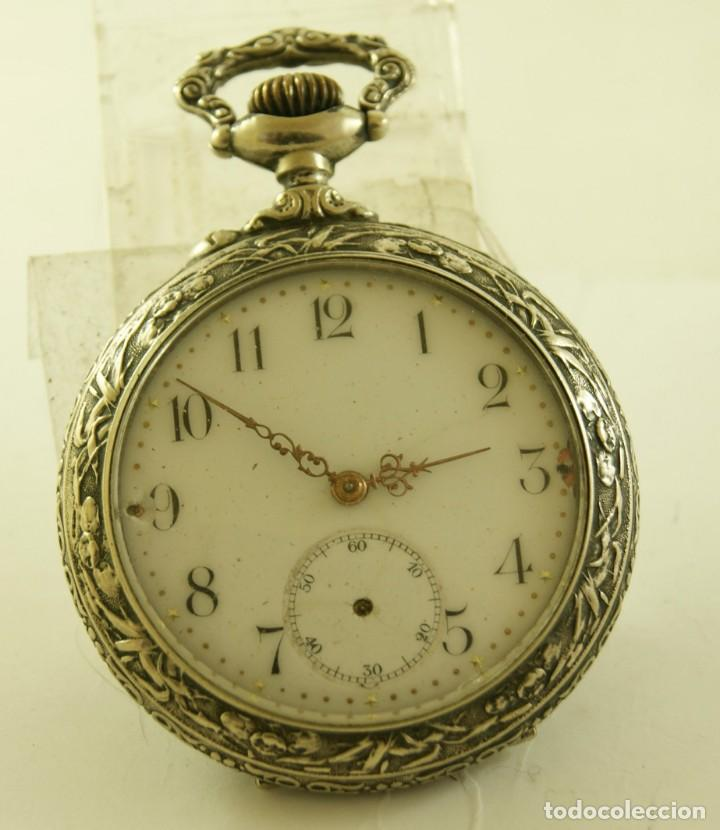 Relojes de bolsillo: RELOJ BOLSILLO CAJA LABRADA PRECIOSA LOUIS BOLSON 52.83MM - Foto 2 - 160733150