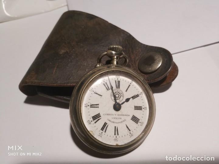 RELOJ CUERVO Y SOBRINOS,ROSKOPF HABANA CON FUNDA DE CUERO ORIGINAL (Relojes - Bolsillo Carga Manual)