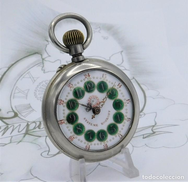 FANTÁSTICO Y GRAN RELOJ DE BOLSILLO MESSAGGERO-ROSKOPF-CIRCA 1920-SUIZA-FUNCIONANDO (Relojes - Bolsillo Carga Manual)