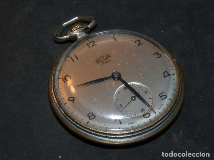 Relojes de bolsillo: Elegante reloj MEDA de bolsillo MEDANA original años 40 calibre MST 365 colección swiss made - Foto 2 - 162422278
