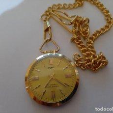 Relojes de bolsillo: RELOJ DE BOLSILLO HMT INDIO, BAÑO ORO, 37 MM, DE CUERDA, FUNCIONANDO.. Lote 163972610