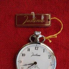 Relojes de bolsillo: RELOJ DE BOLSILLO JUSTINA PLATEADO DE CUERDA - SIN USO, FUNCIONANDO - CRISTAL SIN RALLADURAS. Lote 164022150