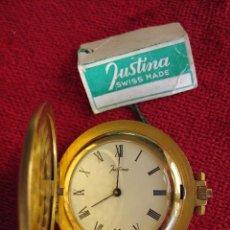 Relojes de bolsillo: RELOJ DE BOLSILLO JUSTINA DORADO CON TAPA, DE CUERDA - SIN USO, FUNCIONANDO. Lote 164024402