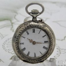 Relojes de bolsillo: RELOJ DE BOLSILLO DE MONJA-DE PLATA-10 RUBÍS-3 TAPAS-ALEMAN-FUNCIONANDO. Lote 164756130