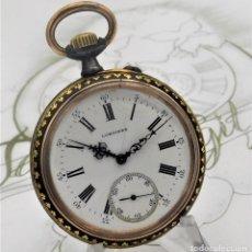 Relojes de bolsillo: LONGINES-CIRCA 1896-CAJA DAMASQUINADA-FUNCIONANDO. Lote 164812058