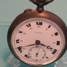 Relojes de bolsillo: EXQUISITO RELOJ BOLSILLO PLATA MARCA SUIZA MOERIS, PRECIOSA MÁQUINA 49 MM. VER FOTOS. Lote 164932582