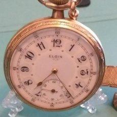 Relojes de bolsillo: ESPECTACULAR RELOJ ELGIN ESFERA BELLA CADENA MANO ÉPOCA. PRECIOSO. VER FOTOS.. Lote 164933842