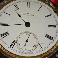 Relojes de bolsillo: IMPRESIONANTE RELOJ PLATA MACIZA WALTHAM 65 MM FERROCARRILES EJEMPLAR RARO. VER FOTOS. Lote 164949354