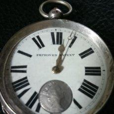 Relojes de bolsillo: GRAN RELOJ DE BOLSILLO SEMICATALINO PLATA STERLING 0,925 MM. IMPROVED PATENT. 58 MM. VER FOTOS. Lote 164950770