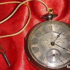Relojes de bolsillo: GRAN RELOJ BOLSILLO PLATA SEMICATALINO ESFERA PLATA 65 CMM LLAVE. ESFERA PLATA. VER FOTOS. Lote 164960318