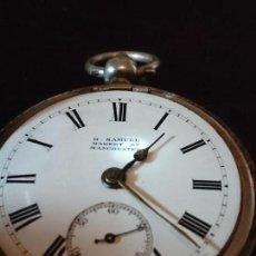 Relojes de bolsillo: RELOJ DE BOLSILLO SEMICATALINO, H. SAMUEL.SIGLO XIX CAJA PLATA STERLING, PRECIOSO. Lote 164960686