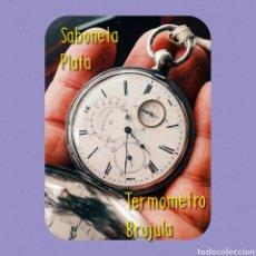 Relojes de bolsillo: RELOJ BOLSILLO SABONETA PLATA, S XIX, CON TERMOMETRO Y BRUJULA, FUNCIONANDO. Lote 165078629
