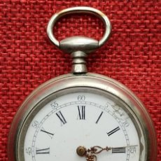 Relojes de bolsillo: FUNCIONANDO - SISTEMA CYLINDER - BEACOURT - MARCAJE - FINALES XIX - ESFERA PORCELANA - ARGENTAN. Lote 165714562