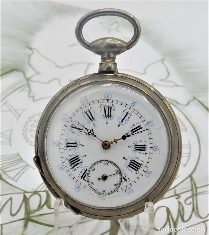RELOJ BOLSILLO 3 TAPAS-PRECIOSA ESFERA-CIRCA 1860-FUNCIONANDO (Relojes - Bolsillo Carga Manual)