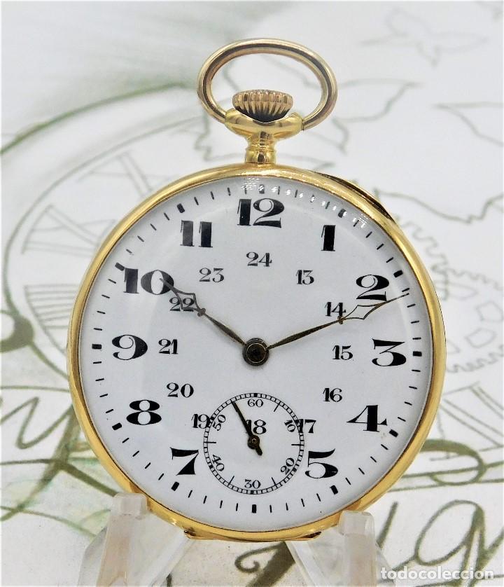 RARO Y PRECIOSO RELOJ DE BOLSILLO SUIZO DE ORO 18K-15 RUBÍES-CIRCA 1930-1940-ANÓNIMO-FUNCIONANDO (Relojes - Bolsillo Carga Manual)