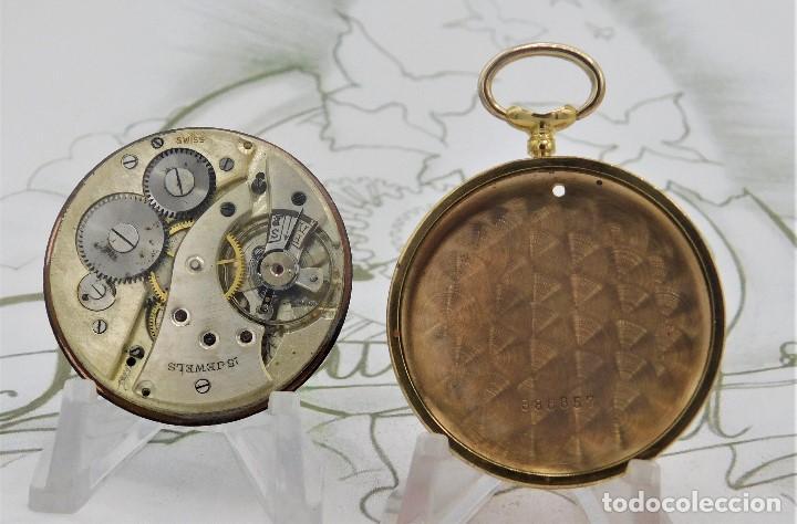 Relojes de bolsillo: RARO Y PRECIOSO RELOJ DE BOLSILLO SUIZO DE ORO 18K-15 RUBÍES-CIRCA 1930-1940-ANÓNIMO-FUNCIONANDO - Foto 3 - 165798014