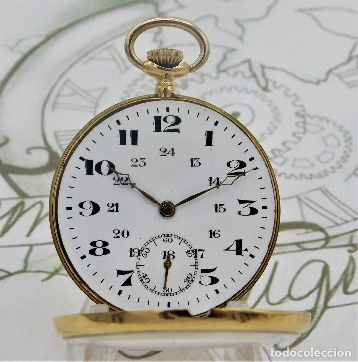 Relojes de bolsillo: RARO Y PRECIOSO RELOJ DE BOLSILLO SUIZO DE ORO 18K-15 RUBÍES-CIRCA 1930-1940-ANÓNIMO-FUNCIONANDO - Foto 6 - 165798014