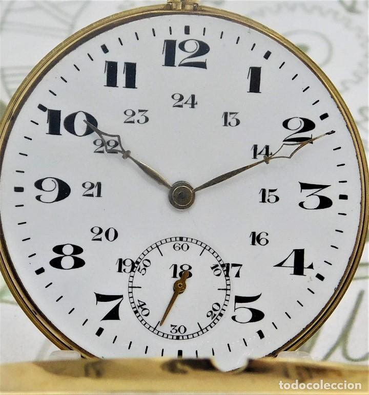 Relojes de bolsillo: RARO Y PRECIOSO RELOJ DE BOLSILLO SUIZO DE ORO 18K-15 RUBÍES-CIRCA 1930-1940-ANÓNIMO-FUNCIONANDO - Foto 12 - 165798014