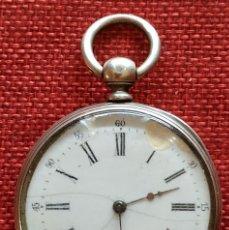 Relojes de bolsillo: FUNCIONANDO - SISTEMA CYLINDER - 8 RUBIS - ESFERA PORCELANA - SIGLO XIX - PLATA 800 M . Lote 165830294