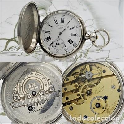 CH.H. GROSCLAUDE-PRECIOSO RELOJ DE BOLSILLO SUIZO DE PLATA Y 15 RUBÍES-CIRCA 1880-FUNCIONANDO (Relojes - Bolsillo Carga Manual)