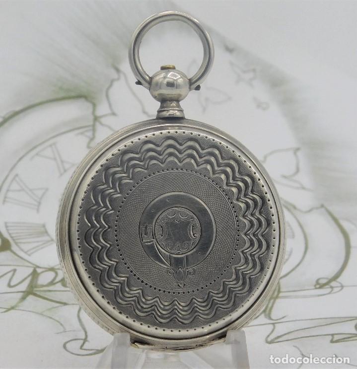 Relojes de bolsillo: CH.H. GROSCLAUDE-PRECIOSO RELOJ DE BOLSILLO SUIZO DE PLATA Y 15 RUBÍES-CIRCA 1880-FUNCIONANDO - Foto 4 - 165867250